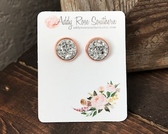 12mm silver druzy earrings in rose gold, druzy studs, druzy earrings, bridesmaid gifts, wedding jewelry