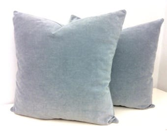 Set of Two Grey Cotton Velvet Throw Pillows, Grey Pillows, Velvet Pillow Cover, Decorative Pillow, Velvet Cushion, Grey Velvet Pillows