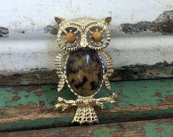 Vintage Owl Brooch/Pendant Brown Glass spotted Jelly Belly