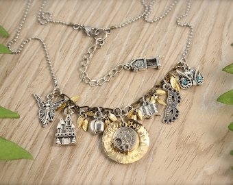 Labyrinth Inspired Castle Clock Charm Necklace