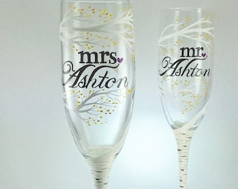 Birch Tree mr and mrs Wedding Toasting Flutes