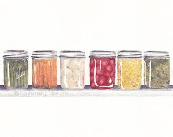watercolor painting- Grandmother's Pantry- art print