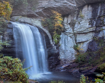 Looking Glass Falls in Autumn - Giclee' Print on Watercolor Paper