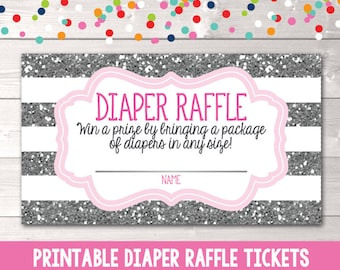 Instant Download Printable Diaper Raffle Ticket Girls Pink & Silver Glitter Diaper Raffle Card PDF for Baby Showers