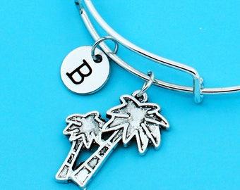 Coconut palm bangle bracelet, coconut tree bracelet, custom charm pendant, personalized bracelet, initial bangle, custom bangle, tree charm