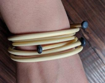 Knitters Bracelets - Bone Coloured Plastic Knitting Needle Braclets