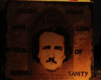Edgar Allan Poe Stampa su legno 20 x 20 cm