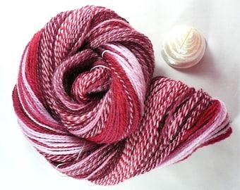 Handspun Yarn Hand Spun Yarn Handspun Sock Yarn Plied handspun yarn Fractal Yarn Handspun Pink Yarn Handspun Merino Yarn.