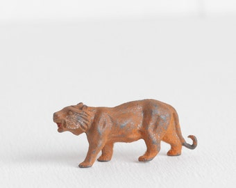 Vintage Lead Tiger, Orange Flocked Miniature Cast Metal Zoo Animal Figurine