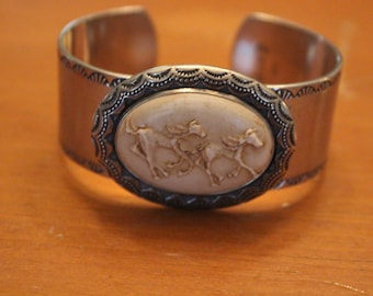Gemstone Native American Silver Bracelet with Horse