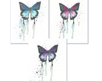 Watercolor Butterfly Art Prints, Blue, Pink, Purple, Set of 3, Modern Insect Art, Cottage Chic Decor, Nursery Wall Art, Colorful Wall Art