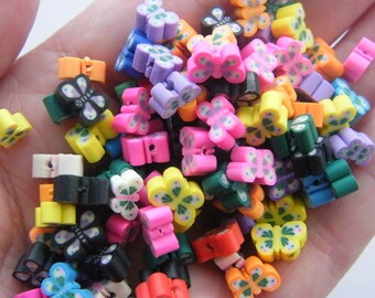100 Polymer clay butterfly beads B160