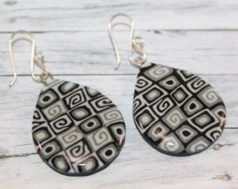 Black and white teardrop earrings