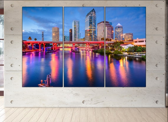 Tampa canvas wall art art  large  black white canvas wall art print Tampa, Florida, USA City Cityscape skyline City Office Decor