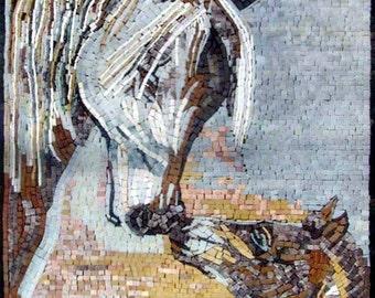 Marble Horses Mosaic Mural