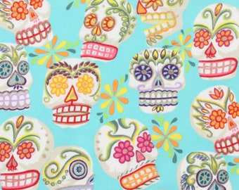 Calaveras Blue Sugar Skulls Alexander Henry By the Yard with Glitter