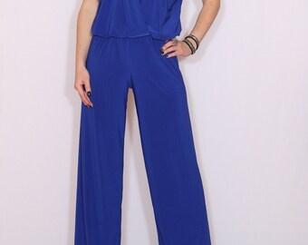 Jumpsuit women bridesmaid jumpsuit cobalt blue jumpsuit women royal blue jumpsuit cobalt blue jumpsuit blue royal blue sleeveless wrap top