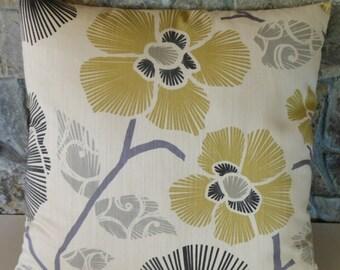 "Asian Floral Grey and Citron Pillow Cover//20"" Throw Pillow"