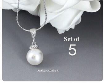 Set of 5 Swarovski Necklace Bridesmaid Gift Bridesmaid Jewelry Gift for Her Necklace Jewelry Wedding Jewelry Gift for Her Bridesmaid Gift