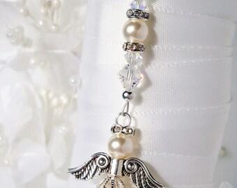 White Wedding Bouquet Charm Swarovski Crystal and Pearl Angel Bouquet Charm