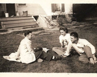 "Vintage Snapshot ""Third Wheel"" Lovely Young Woman & Cute Guys Hanging Out On The Lawn Old Photo 1940's Vernacular Photography"
