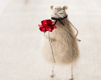 Valentine gift for wife ideas Knitted mouse rat Valentine's day gift for girlfriend Anniversary gift Rat figurine Stuffed animal Candyfleece