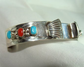 Signed NAVAJO Cuff Braclet for a WATCH Handmade STERLING w/ Turquoise
