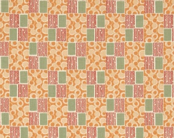 Edith's Patchwork - Downton Abbey Lady Edith Collection A 7329  - Orange and Green Reproduction Fabric - Andover Quilt Shop Fabric