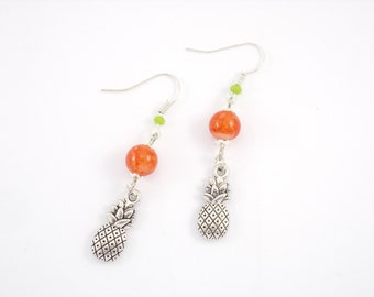 Earrings in silver, orange marbled orange glass beads and pineapple charm
