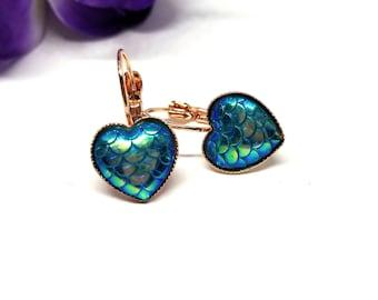 Blue Mermaid Scale Earrings, Rose Gold Heart Earrings, Dragon Earrings, Earrings Mermaid Dangle, Dragon Scale Earrings, Blue Dragon Scale