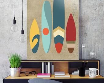 New day,new waves,Art print,Surfing art print,mid century modern art ,art poster,wall art print,vintage art print,surfboards,wave,sun,sand