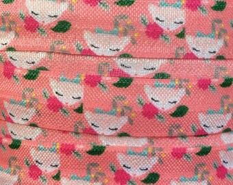 """Coral with Fawn and Flowers 5/8"""" Fold Over Elastic - 3 or 5 Yards"""