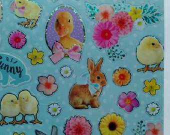 set of 42 stickers stickers with bunnies, chicks, duck and pig Easter