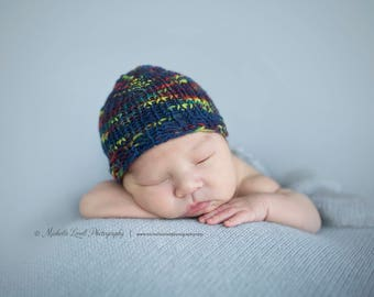Hand Knit Multi-tone blue newborn beanie, Ready to Ship Item