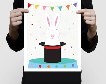 bunny art print magic rabbit in top hat - magician circus rabbit artwork, kids decor, white rabbit illustration, nursery decor boy or girl