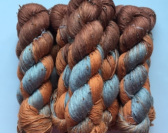 Hand Beaded & Dyed Mulberry Silk Yarn // AUTUMN LEAVES - Light Brown, Copper, Blue Gray // Approx 220 yards per skein // 1 Skein