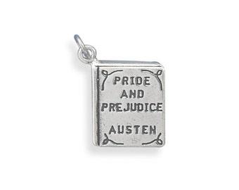 Sterling Silver Pride and Prejudice Book Charm Pendant Literature school