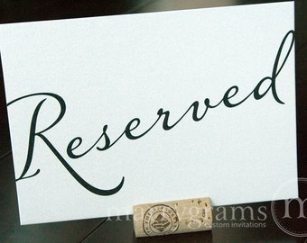 Reserved Sign Table Card - Wedding Reception Seating Signage - Reserved Table Number (Set of 2) Matching Numbers Available SS03