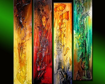 Original Abstract Painting, Modern Textured Colorful Abstract painting, contemporary Wall Art on canvas by Henry Parsinia 36x32