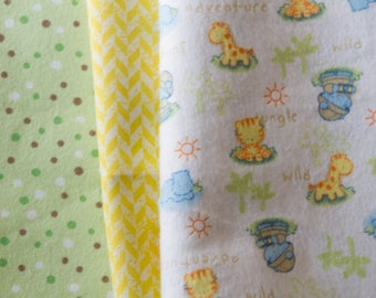 """Handmade Flannel Baby Quilt, """"Jungle Baby"""", Gender Neutral, Made to Order"""