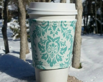 FREE SHIPPING UPGRADE with minimum -  Reusable coffee cozy / cup sleeve / coffee sleeve / coffee cup holder - Teal damask on cream