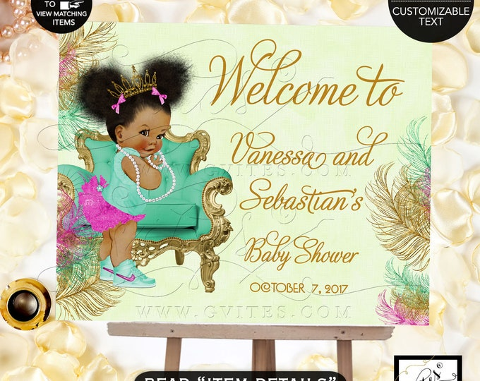 Baby Welcome Sign, Mint Pink and Gold Baby Shower Printable Invitation, Princess African American Baby Invites, Digital File Only! Gvites