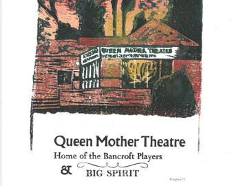 Queen Mother Theatre Lino and Letterpress Print