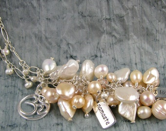 Cluster pearl necklace with yoga charms, wire wrapped pearls onto sterling silver chain