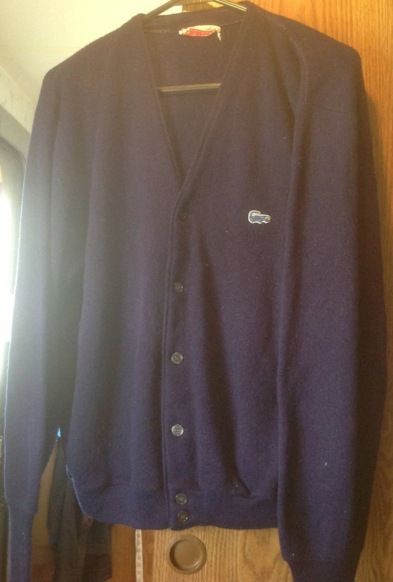 VINTAGE Izod of London Men's Blue Sweater with logo Large