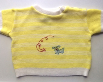 Vintage Unisex Baby 70's Knit Top, Yellow, White, Stripe, Short Sleeve by Woolworth (18 mos)