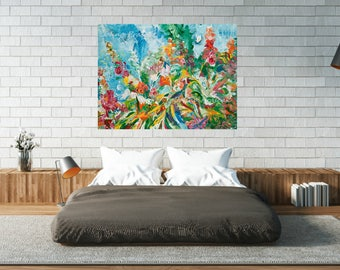 Floral art, Hollyhocks, Heirloom flowers, garden art,  Pittsburgh artist, by Johno Prascak, Johnos Art Studio