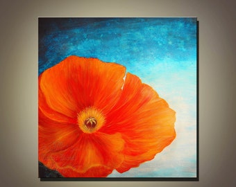 Poppy- Abstract Floral Art Print. Free Shipping inside US.