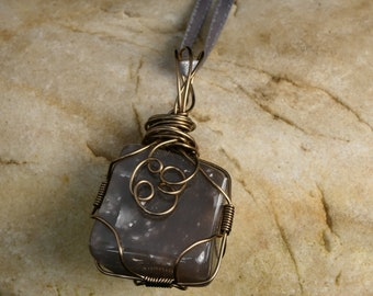 Grey stone and wire pendant