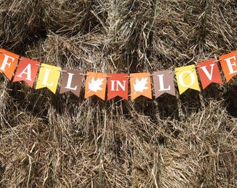 FALL IN LOVE Banner - - Fall Banner - Fall signs - Fall decorations - Thanksgiving banner - Thanksgiving sign – Thanksgiving decor